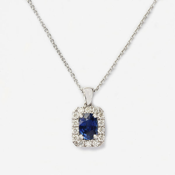 sapphire diamond rectangular pendant cluster with white gold chain