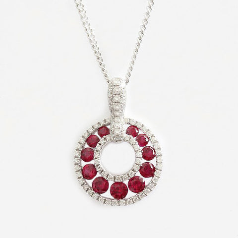 modern ruby and diamond circular pendant with 18ct white necklace