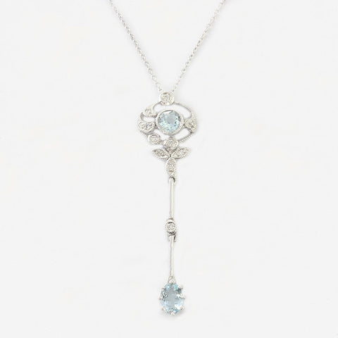 aquamarine and diamond edwardian style white gold drop pendant necklace