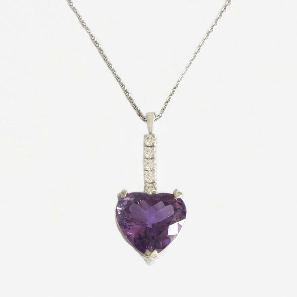 heart shape amethyst pendant with 2 diamonds and white gold chain