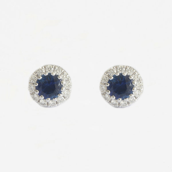 sapphire diamond stud clusters white gold