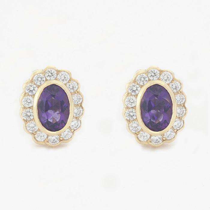 amethyst diamond oval cluster stud earrings in yellow gold