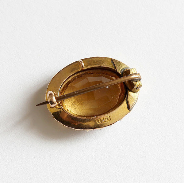yellow gold citrine and pearl brooch