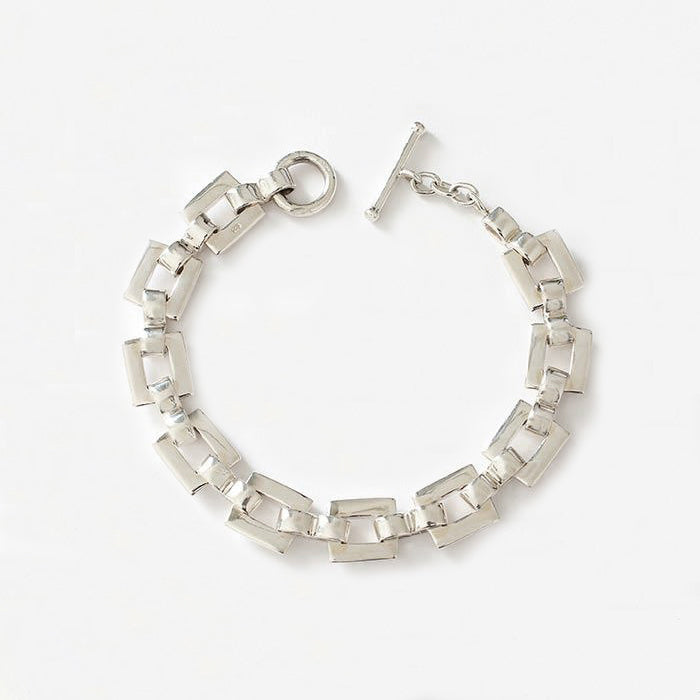 a plain square link flexible sterling silver modern contemporary bracelet