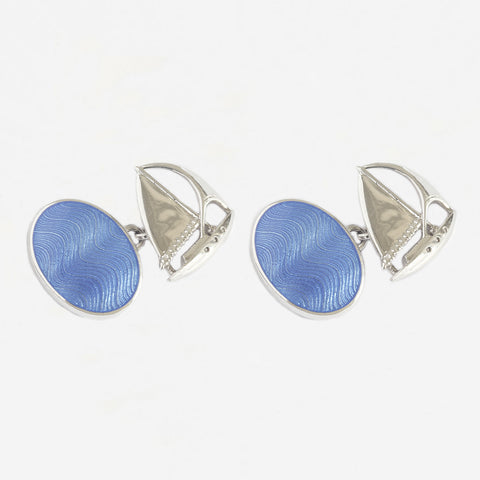 blue enamel and sailing boat design cufflinks in sterling silver with chain connectors