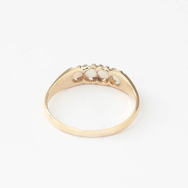 Opal 4 Stone Half Hoop Yellow Gold Ring - Secondhand
