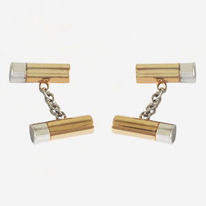 a pair of shotgun cartridge cufflinks in gold plated and silver