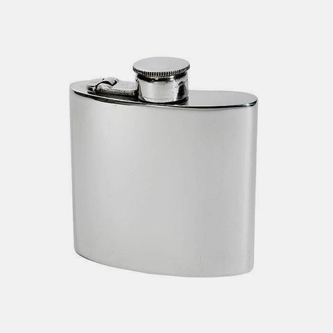 a pewter 4oz weight flask with a captive top and plain exterior
