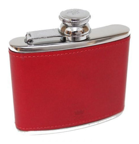 A red hip flask 4oz stainless steel