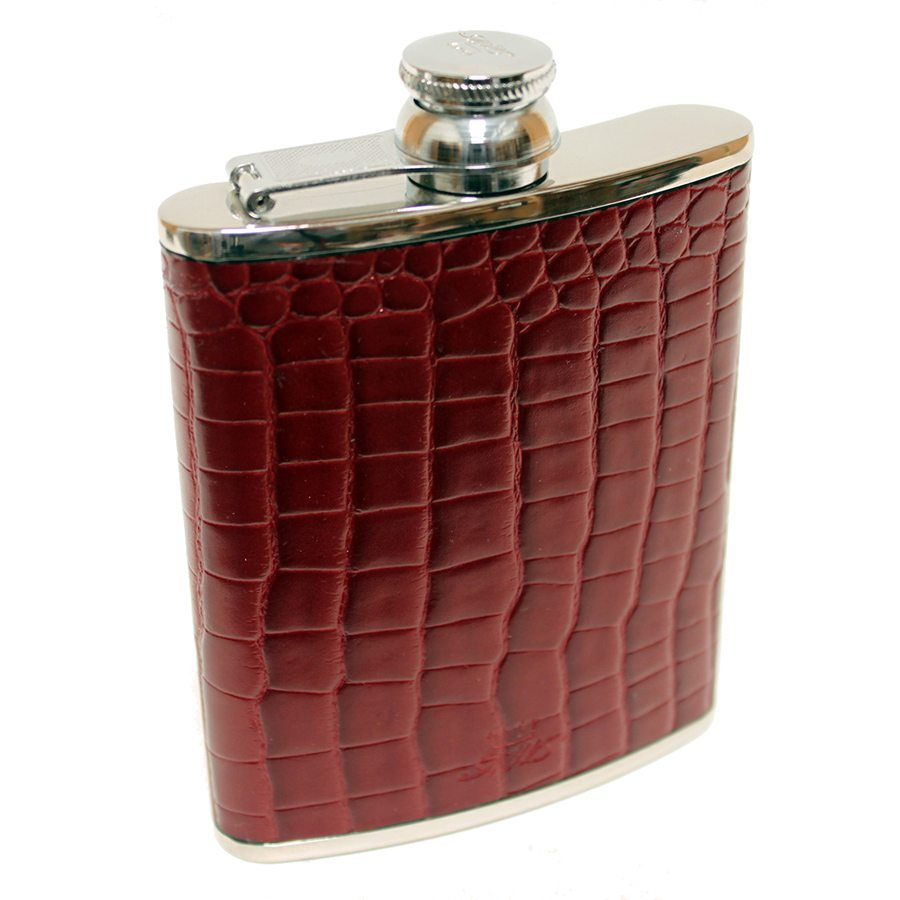 a burgundy 6 oz hip flask by Marlborough of England stainless steel