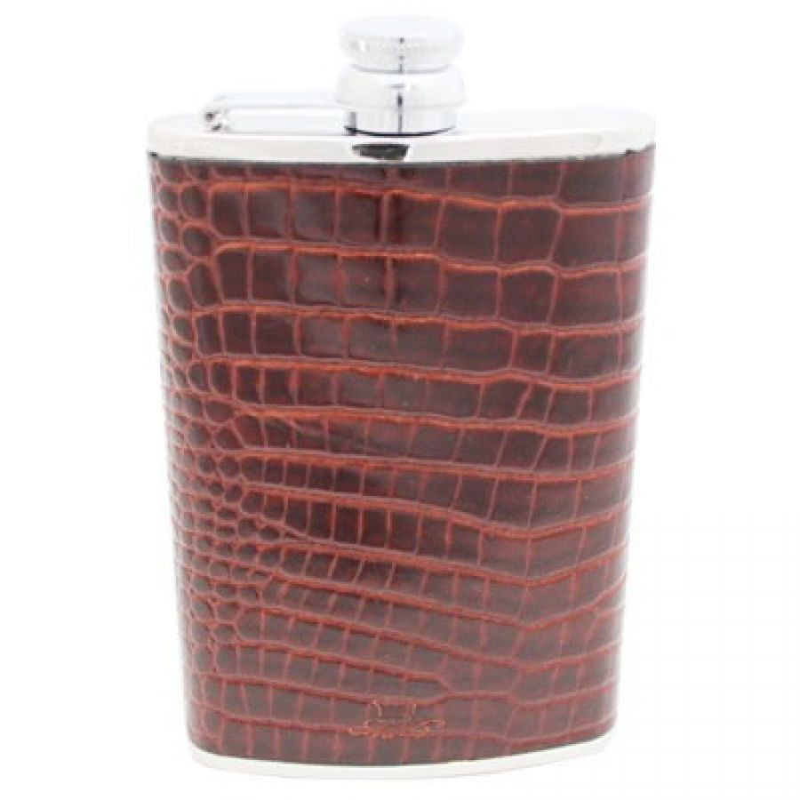 a brown leather 8 oz hip flask in stainless steel