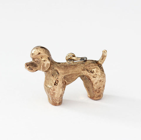 poodle charm set in 9ct yellow gold standing up hollow