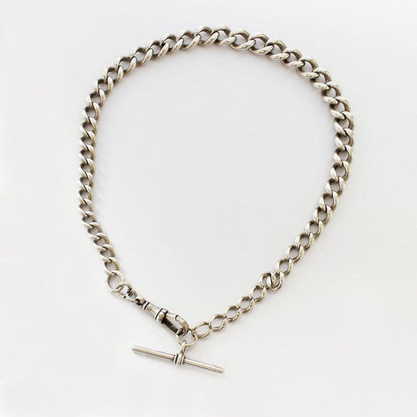 a fine quality heavy solid silver albert chain with swivel clasp and t bar attached