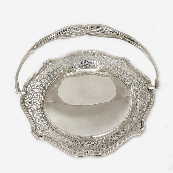 a secondhand silver fruit bowl with handle mappin and webb dated 1918
