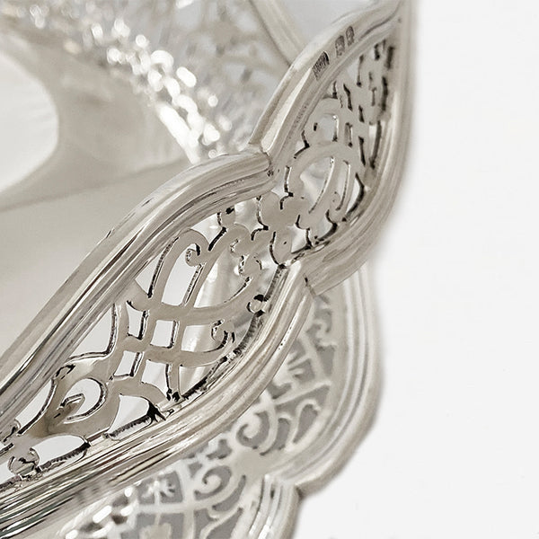 a stunning Mappin & Webb solid silver pierced fruit bowl with hallmark for London 1918
