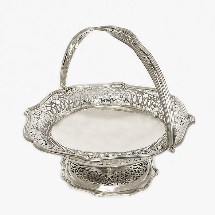 a vintage silver fruit bowl with pierced decoration dated london 1918