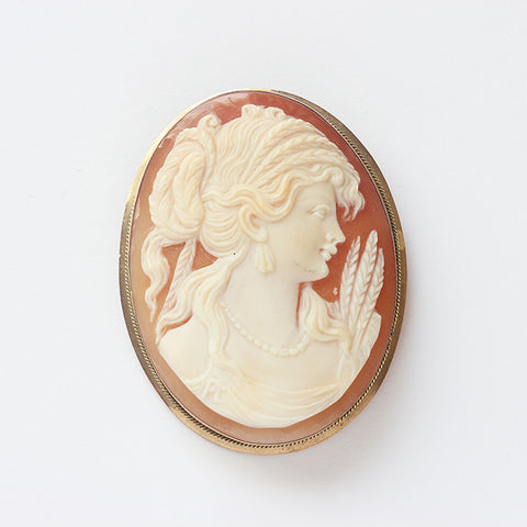 an antique oval cameo brooch with a lady side profile