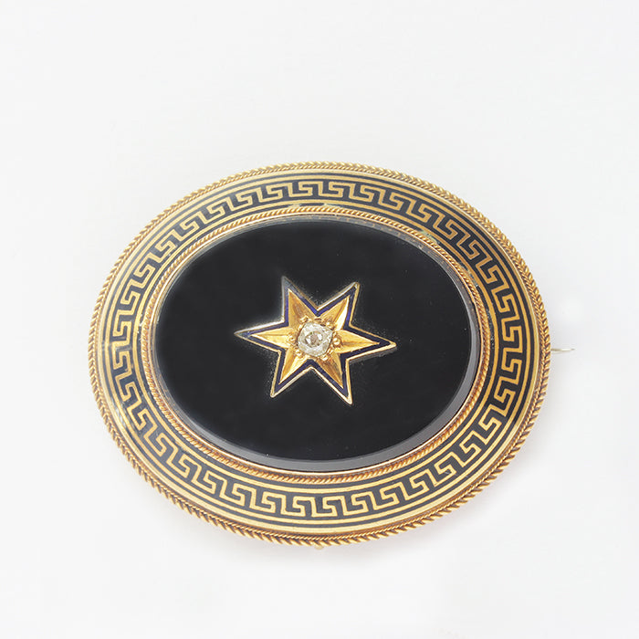 onyx enamel and diamond set greek key oval mourning antique brooch in yellow gold