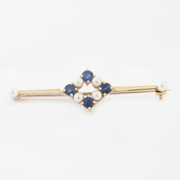 sapphire and pearl yellow gold vintage bar brooch
