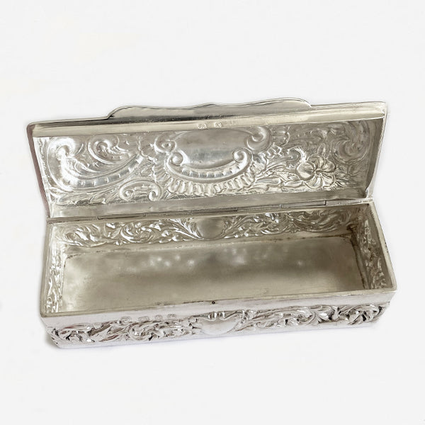 a silver antique victorian rectangular box trinkets leaf flower pattern