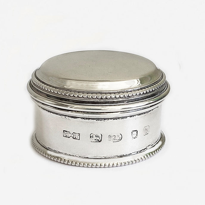 a stunning little silver circular box with a bead edge dated London 2001