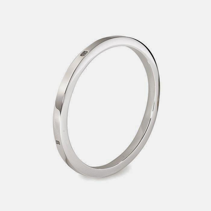 a sterling silver plain bangle with a square edge polished finish and 58 grams