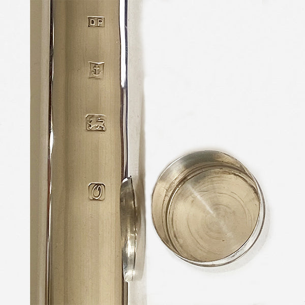 a silver hallmarked secondhand cigar tube with box dated birmingham 1988