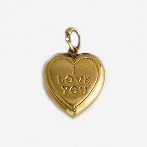 a hollow secondhand yellow gold i love you heart charm