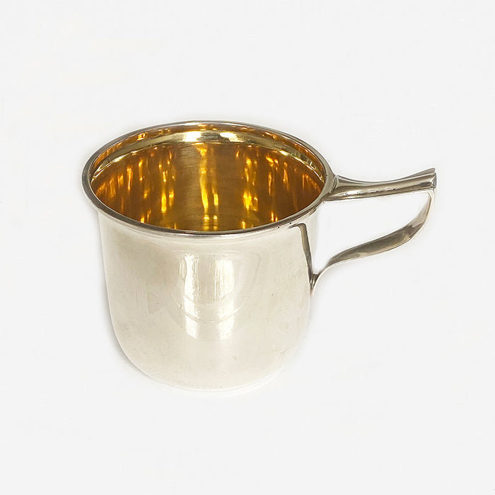 an art deco plain silver christening mug dated 1920 with gilt inside