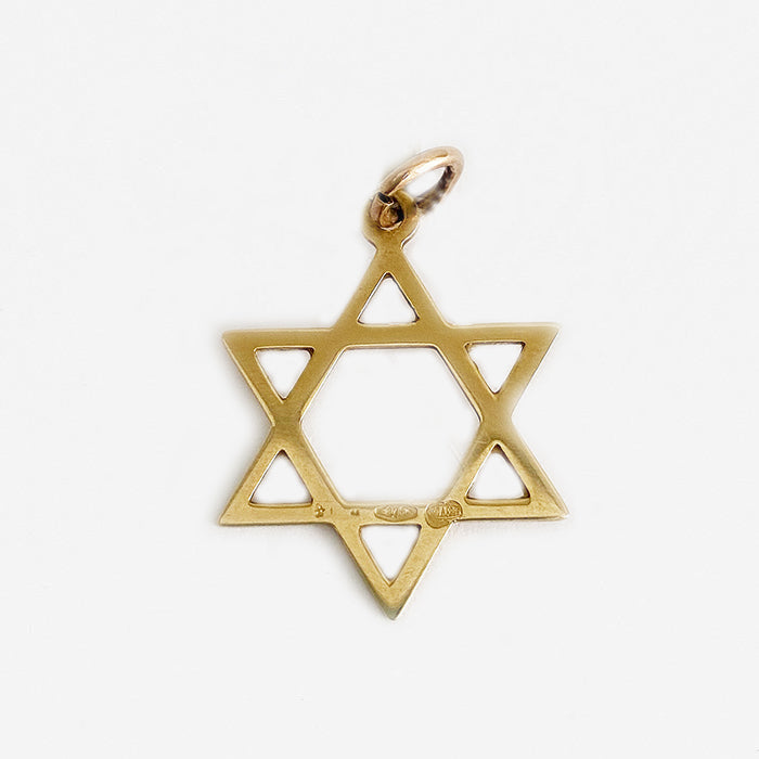 a secondhand yellow gold cross of David charm