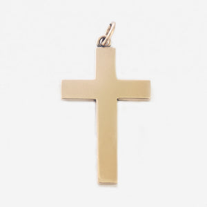 a secondhand yellow gold plain solid cross pendant