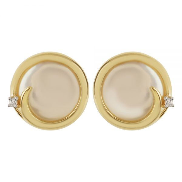 Freshwater Coin Pearl & Diamond Stud Earrings in 9ct Gold