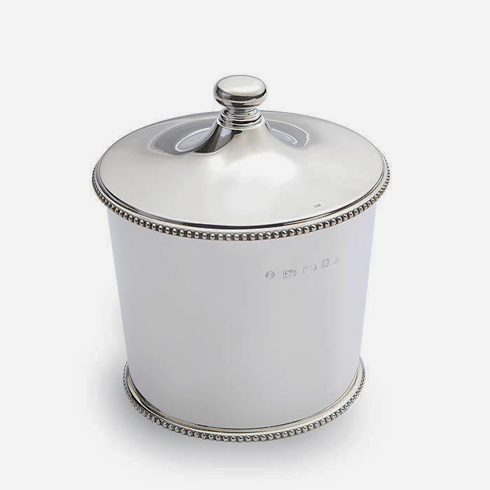 a fine quality sterling silver ice pail with internal strainer with full hallmark and beaded edging