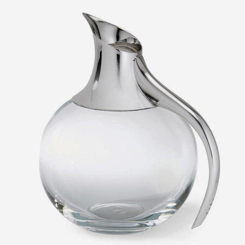 a sterling silver and glass water jug with a bubble shape modern with a full hallmark
