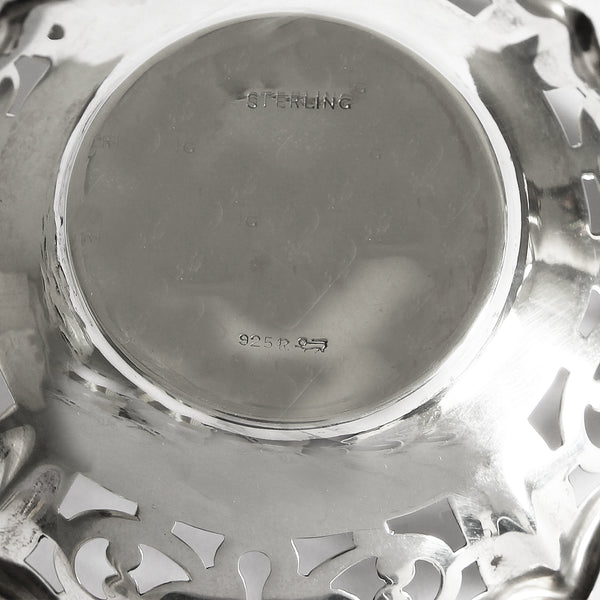 secondhand pair of sterling silver bon bon dishes with pierced scroll pattern