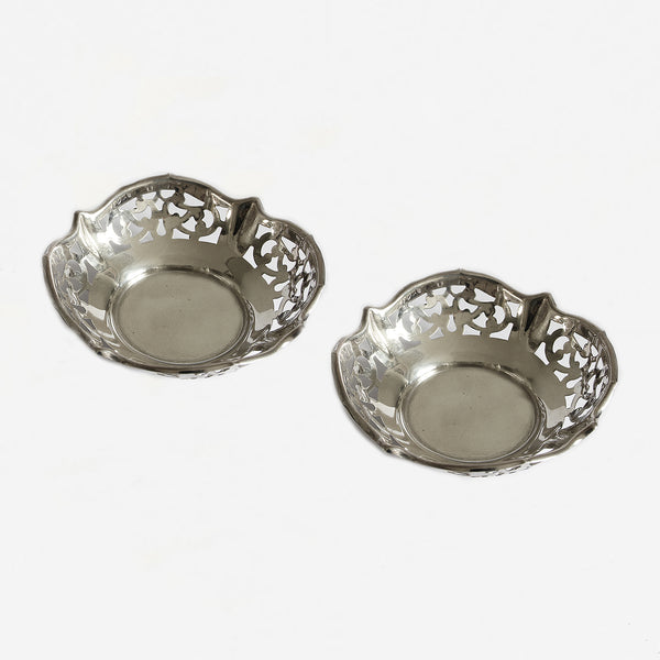 a preowned pair of bon bon dishes in silver stamped 925
