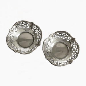 a set of 2 small bon bon dishes in silver
