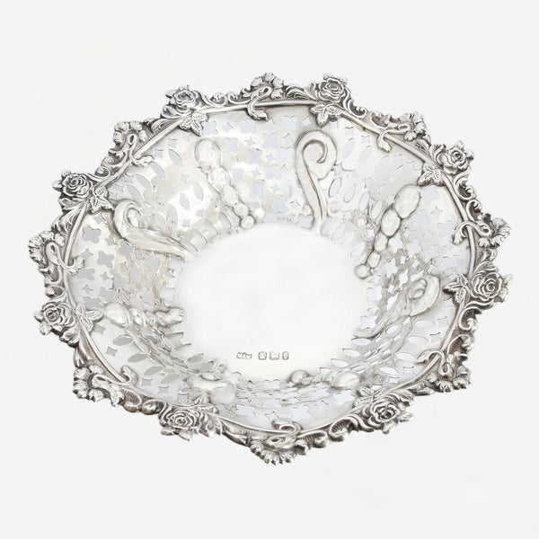a silver victorian dish sheffield 1898 with rose design
