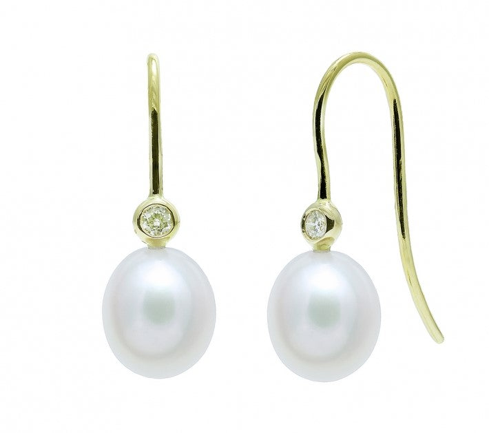 freshwater pearl and diamond drop hook earrings