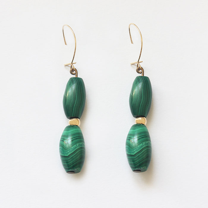 a pair of gold malachite 2 stone drop earrings secondhand with hook fittings