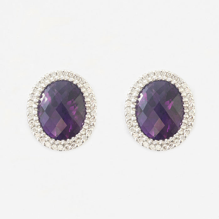 amethyst and diamond oval cluster stud earrings in white gold claw setting
