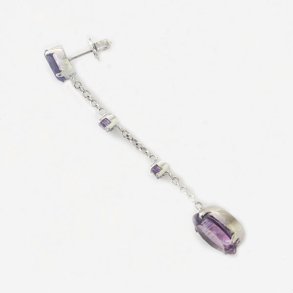 very long drop earrings in white gold with 4 oval amethyst stones