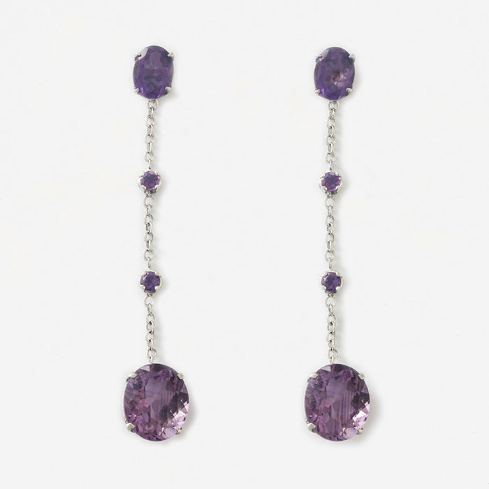 modern long white gold amethyst drop earrings with butterfly stem fittings