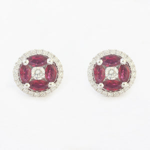 ruby and diamond round cluster stud earrings in white gold  with claw settings secondhand