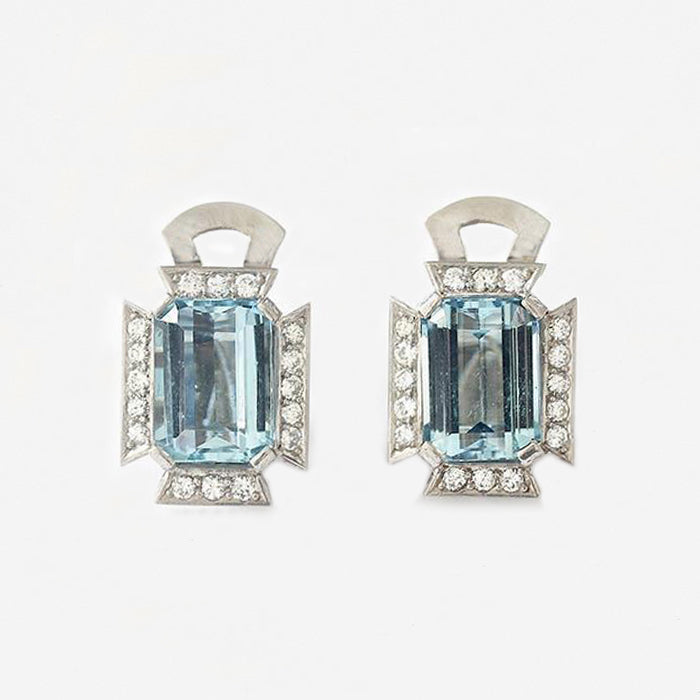 an art deco aquamarine and diamond style stud earrings in white gold  Edit alt text