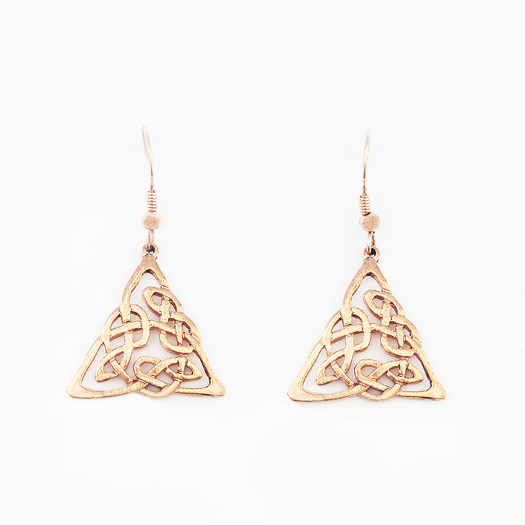 a Celtic knot design drop earrings in 9 carat rose gold secondhand