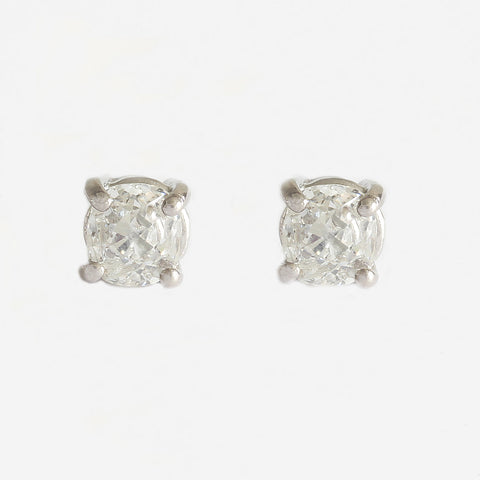 a pair of victorian diamond round old brilliant cut stud earrings