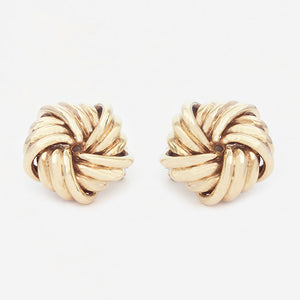 a pair of 9 carat yellow gold large knot stud earrings with clip fittings