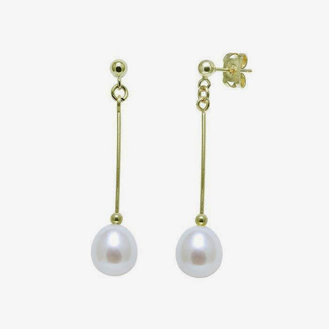 a drop set of earrings with a single pear shaped pearl and yellow gold bar and bead drop earrings