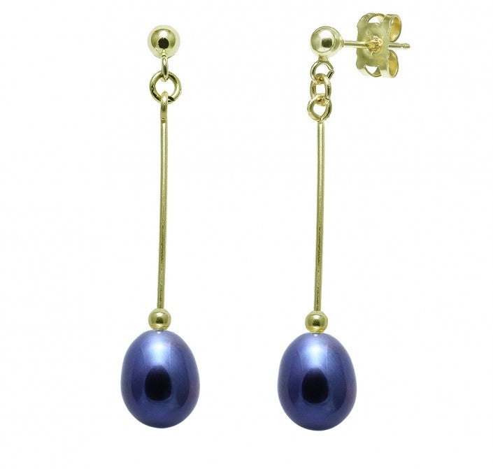 freshwater pearl and 9 carat yellow gold drop earrings